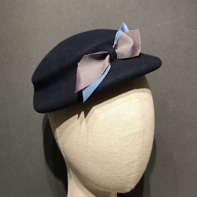 Eva – a 1950s style tilt hat in navy wool felt with blue and grey bow