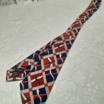 Red, Blue and Cream Abstract 1940s to early 1950s Gents Swing Tie, Original Vintage, Mid Century
