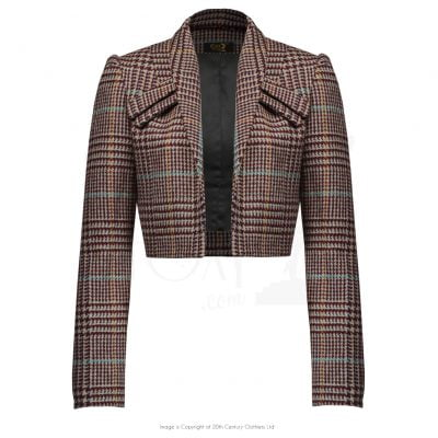 40s Crop Jacket – Burgundy check wool