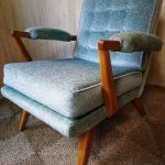 Vintage G Plan Brandon Oak Armchair Buttoned Mint Green Velvet