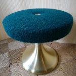 Vintage Gold Aluminium Tulip Dressing Table Stool Boucle