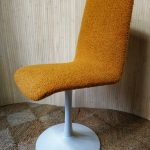 Vintage White Metal Tulip Style Swivel Dining Chair Yellow Boucle