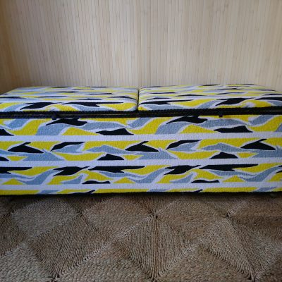 Vintage Kraft Ottoman Blanket Box Toy Box Casters Terry