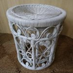 Vintage Boho Peacock Bamboo Rattan Wicker Nest 2 Round Side Tables Stools