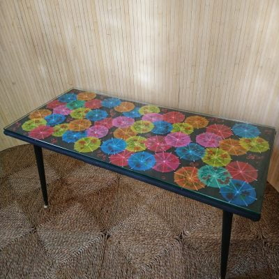 Vintage Kitsch Coffee Table Dansette Legs Cocktail Umbrellas