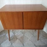 Vintage High Quality Teak Vinyl Record Cabinet on Legs