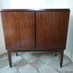 Vintage Converted Teak TV Casing Drinks Cocktail Cabinet w/ Light
