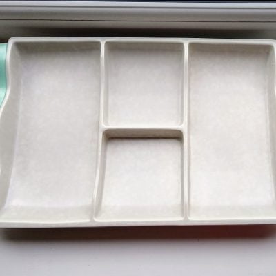 Poole Pottery Ice Green & Seagull Grey Hors D'Oeuvres Tray