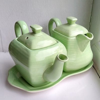 Vintage George Clews & Co Green Teapot, Hot Water Pot & Tray
