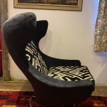 LARGE SWIVEL WINGBACK CHAIR WITH LIMITED TILT 1960/70S