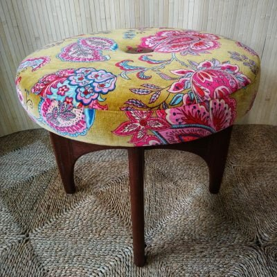 Vintage G Plan Fresco Teak Dressing Table Stool Ochre Paisley Velvet