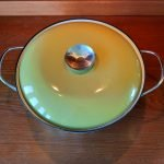 11ins Cathrineholm Enamelware Casserole in Lotus Green and White