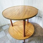 Vintage Round Drinks Tea Trolley Medium Teak Formica 3 Legs