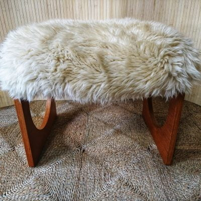 Vintage Teak Uniflex Dressing Table Stool Real Cream Sheepskin