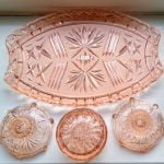 Vintage Pink Glass Dressing Table Set