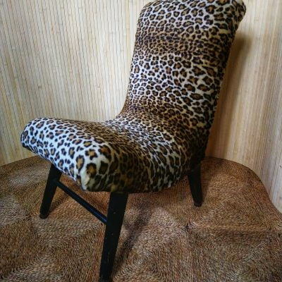 Vintage Leopard Curvy Furry Cocktail Bedroom Chair