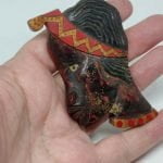 Rare & Unusual 1940s Carved Wood African Head Brooch