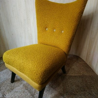 Vintage Howard Keith Encore Cocktail Chair Yellow Boucle