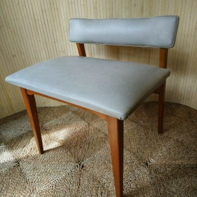 Vintage Beech Dressing Table Stool w/Backrest Original White Vinyl