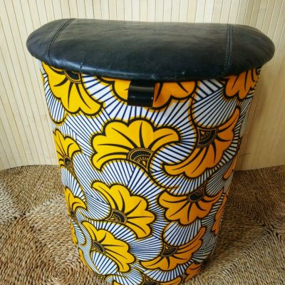 Vintage D Laundry Bin Basket Wax Print & Black Leather