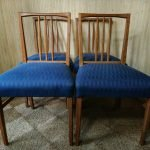 Vintage Set of 4 Gordon Russell Oak Dining Chairs Blue