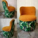 Vintage Green Orange Wax Print Sherborne Bedroom Tub Chair
