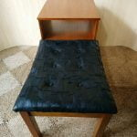 Vintage Chippy Heath Telephone Hall Seat Table Hall Real Black Leather