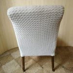 Vintage Curvy Cream Furry Cocktail Bedroom Accent Chair