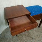 Vintage Teak Handmade Telephone Hall Table Seat Blue Stripe