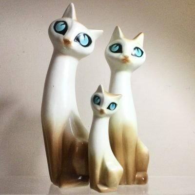 1960's Hornsea Siamese Cat Family