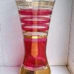 Large retro red & gold striped glass vase