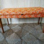 Vintage Double Duet Piano W/Storage or Craft Sewing Box Stool Orange