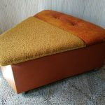 Vintage Cheese Wedge Ottoman Orange Vinyl & Yellow Boucle