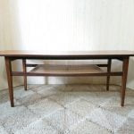 Vintage Quality Danish Teak Coffee Table Rattan Shelf