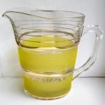 Vintage Retro Large Yellow Sugar Frosted Glass Jug