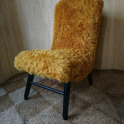 Vintage Yellow Furry Cocktail Bedroom Accent Chair