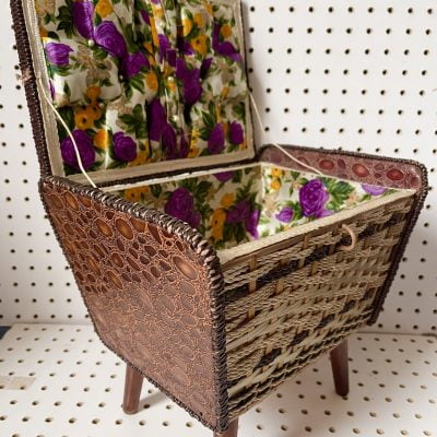 Lovely 1970's Sewing Basket with Gorgeous Lining