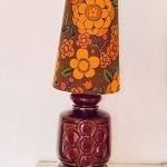 Large 1970s Floor Lamp with Vintage Fabric Shade