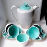 Poole Pottery Ice Green & Seagull Coffee Set