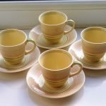 Set of 4 Gray's Pottery 1950s Banded Coffee Cups