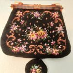 1950s Needlepoint Tapestry Handbag and Coin Purse, with Lucite Chain Handle and Frame, Mid Century, Vintage '50's