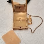 1950s Kigu Ladies Gold Tone Powder Compact, Cigarette Case and Lipstick Holder, with Original Puff and Cover, Vintage Mid Century 50s