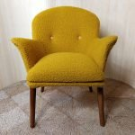 Vintage Toothill Cocktail Chair Armchair Yellow Boucle