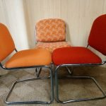 Set Of 3 1970s Chrome Cantilever Dining Chairs Orange