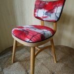 Vintage Petite Ben Chairs Bedroom Chair Red Barkcloth