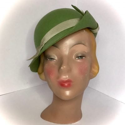 Miss Rose 1930s-inspired hat in sage green wool felt